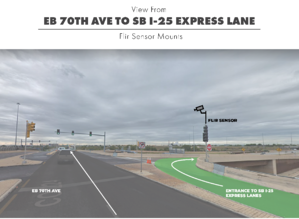 View of Flir Sensor Mount height at I-25 and I-70 juncture on wrong way detection