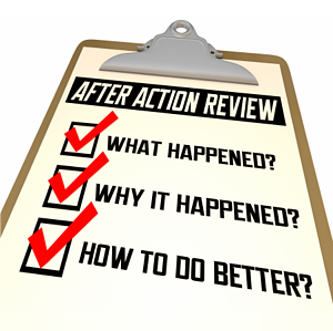 After Action Review on a clipboard