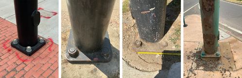 Collage of traffic signal poles in various stages of repair